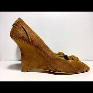 Prada Suede Wedge Peep-toe Pump Size 37.5 US 7.5